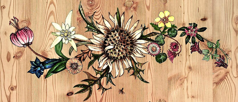 La flore des Alpes en peinture sur bois