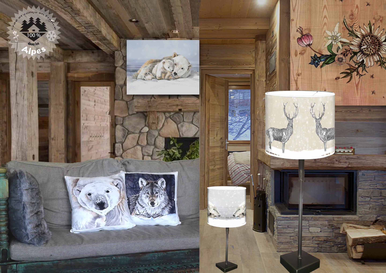 D co montagne tableaux coussins luminaires tissus - Decoration murale montagne ...